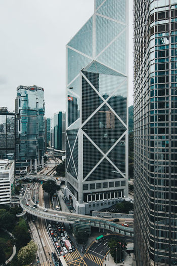 High angle view of skyscrapers in city