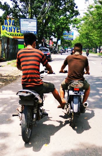 Motorcycle Broke Down Helping Friends Motorcycle Rear View Full Length Riding Men Cycling Day