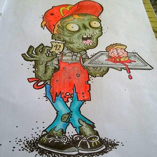 Bem vindo ao zumbiburger a casa do hambúrguer!! -pedido 42 esta pronto!!!! Zumbi Zumbipracolorir Ilustraholsi Colorbook ApocalipseZumbi Ilustration