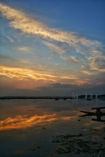 Three of them Shikara Clouds Water Sunset Lake Low Tide Reflection Sky Horizon Over Water Landscape Standing Water Reflection Lake Calm Lakeside Water Surface