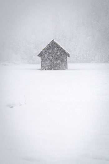 Lifeguard hut on snow covered field against building