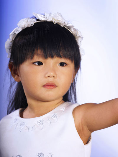 chinese flower girl Wreath Of Flowers Asian  Fashion Flower Girl Happiness Innocence Standing White Dress Angel Bangs Cheerful Child Childhood Chinese Cute Elementary Age Females Front View Girls Hairstyle Headshot Lifestyles One Person Portrait Real People