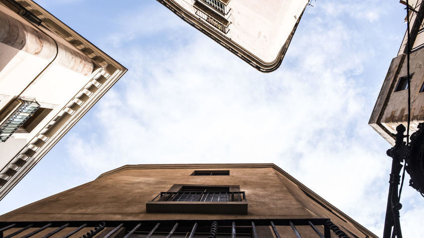 Architecture Building Building Exterior Built Structure City Cloud - Sky Day Directly Below Lighting Equipment Low Angle View Nature No People Old Outdoors Residential District Sky Sunlight Sunny Tower Window