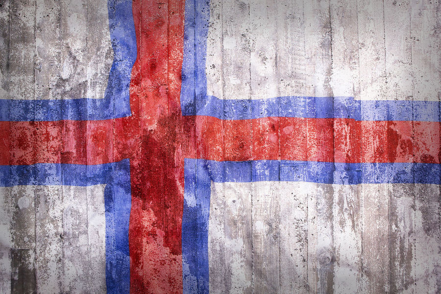 Abstract Architecture Backgrounds Bad Condition Blue Brick Wall Close-up Day Faroe Islands Faroer Islands Flag Flags Multi Colored National No People Outdoors Painted Patriotism Peeling Off Red Spray Paint Striped Textured  Weathered
