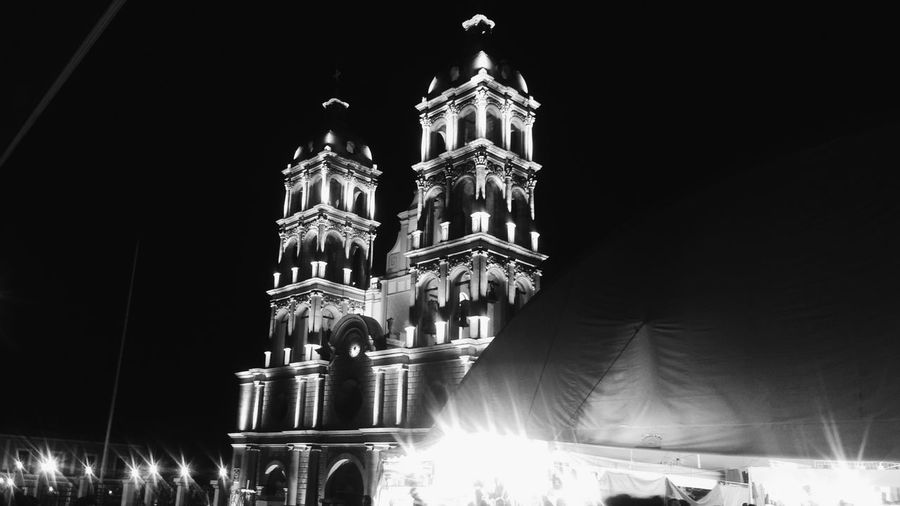Architecture Religion Travel Destinations Building Exterior Illuminated Place Of Worship Cityscape No People Low Angle View Black Background Photography Blackandwhite Mexicanphotographer Lifestyles Blackandwhite Photography Streetphotography Black Background Black&white Mexican Culture