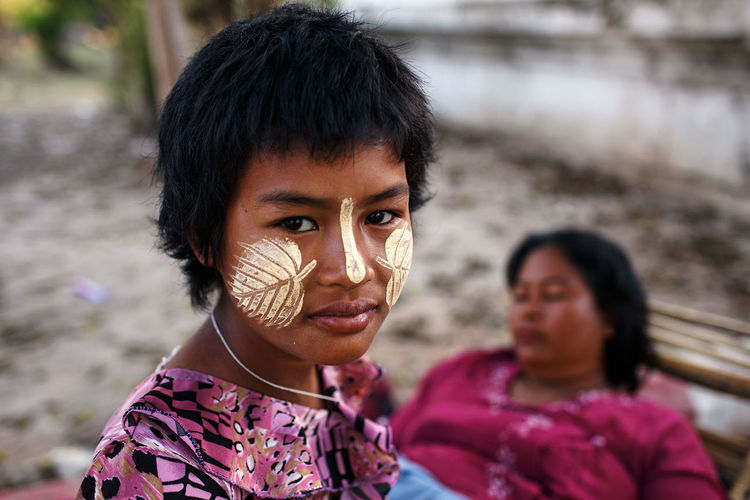 Mandalay, Myanmar, 2014. Myanmar Mandalay Thanaka Travel Portrait Child Looking At Camera