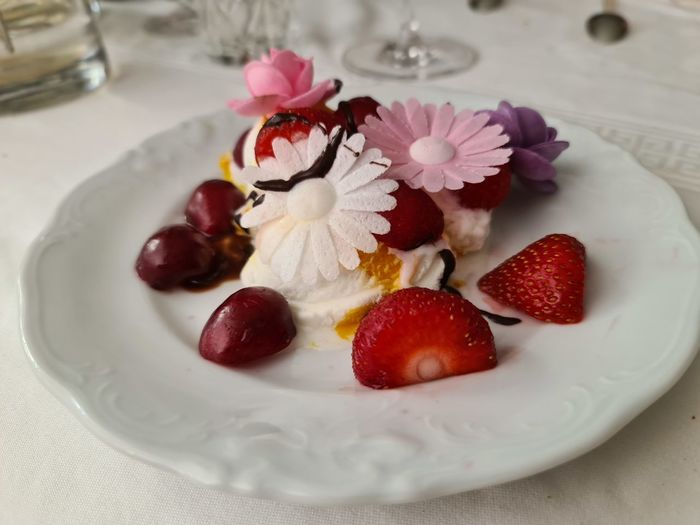 Close-up of strawberries in plate on table