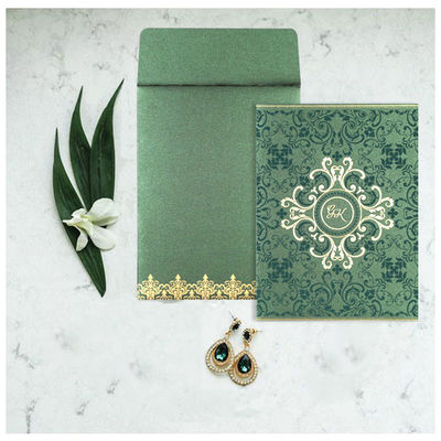 Give your wedding a special feel with our exclusive Green, Shimmer Paper, Designer Wedding Cards - AD-8244I Read more @ https://www.a2zweddingcards.com/card-detail/AD-8244I Designer Wedding Invitations Green Wedding Invitations Shimmer Paper Wedding Invitations Wedding Invitations