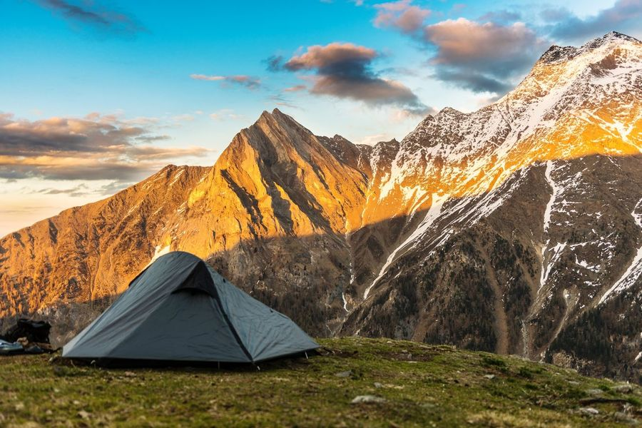 Mountain Sky Tent Landscape Scenics Outdoors Camping Nature Cloud - Sky Mountain Range Beauty In Nature Travel Destinations Sunset Hiking Vacations No People Day Grass Beauty Vinschgau Südtirol Spring Alps Alto AdigeSnow The Great Outdoors - 2017 EyeEm Awards Live For The Story Breathing Space
