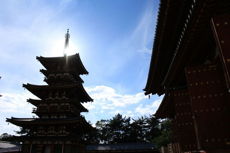 Relaxing Enjoying Life Hello World Temple Sky Skycloud San