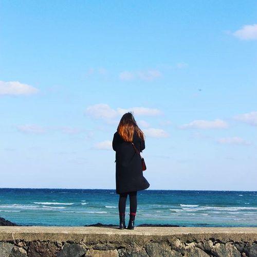 20160203 제주도 세화해변 2박3일 만에 드디어 맑은날 파란하늘 미친바람 은 계속되었지만 난 행복했다고♡ *ㅅ*♡