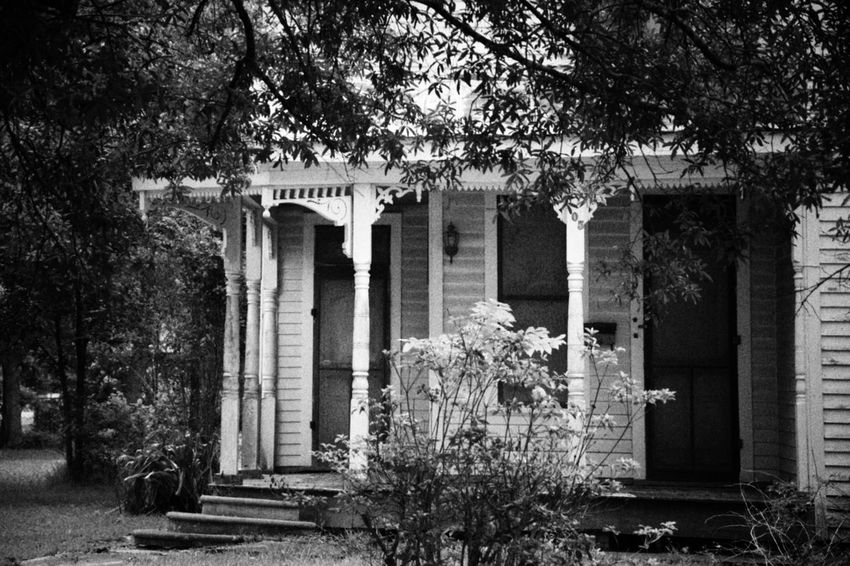 Old house,just love the details Architecture Built Structure Tree Plant Day Architectural Column Outdoors No People Growth Nature Building Exterior Flower South Louisiana Deterioration Architecture Black And White Collection  Black & White Photography Neglected Architecture