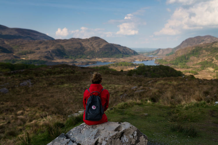 Adult Adults Only Beauty In Nature Day Eco Tourism Full Length Grass Hiking Human Body Part Ireland Landscape Mature Adult Mountain Nature Nature Reserve One Person One Woman Only Only Women Outdoor Pursuit Outdoors People Rear View Ring Of Kerry Women Young Adult