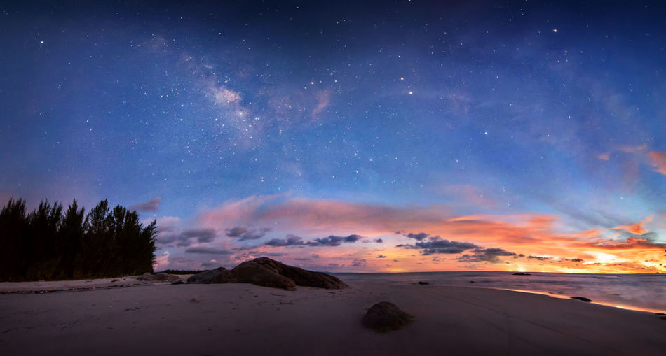 Panorama Milky Way Sky Scenics - Nature Star - Space Tranquil Scene Beauty In Nature Tranquility Astronomy Night Space Land Nature Galaxy No People Cloud - Sky Landscape Environment Idyllic Non-urban Scene Water Sand Outdoors Milky Way