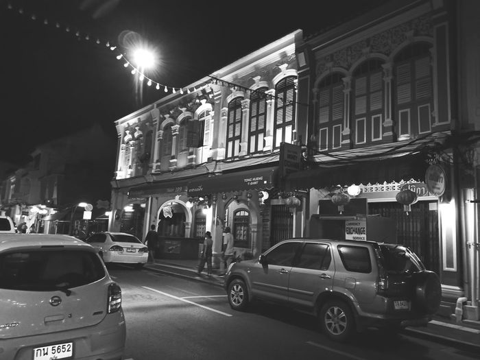 Old Town Phuket Phuket Town Thailand🇹🇭 Thalang Road City Illuminated Nightlife Car Architecture Building Exterior Built Structure City Street