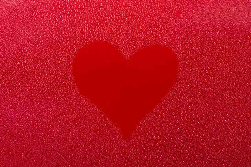 Full frame shot of heart shape on wet table