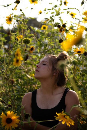 Shadows and rays. Summer Summertime Flower Young Women Beautiful Woman Females Rural Scene Women Beauty Agriculture Close-up Growing Sunflower In Bloom Fragility Head Back