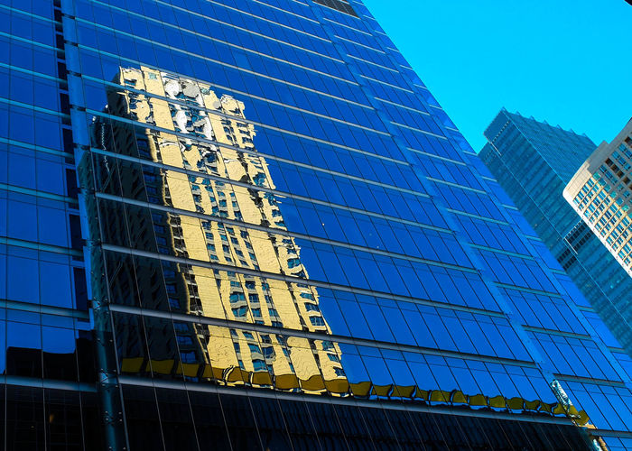 Glass Houses Naturallight Lines Pentaxk3 Sunshine Chicago Skyline Blue Sky Relfections Divides Separation