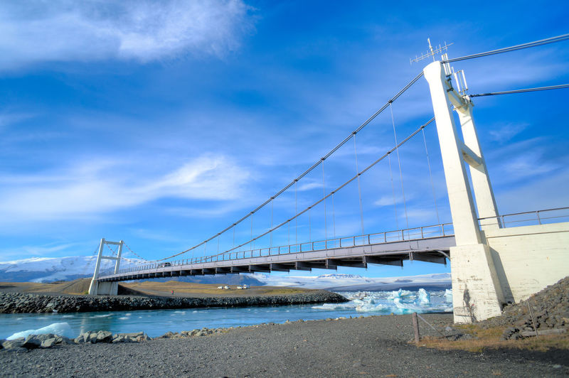 Architecture Blue Bridge Bridge - Man Made Structure Bridge View Bridges Built Structure Cable Cloud Cloud - Sky Cloudy Connection Day Iceland Iceland_collection Nature No People Outdoors River Sky Suspension Bridge Tranquil Scene Tranquility Travel Destinations Water