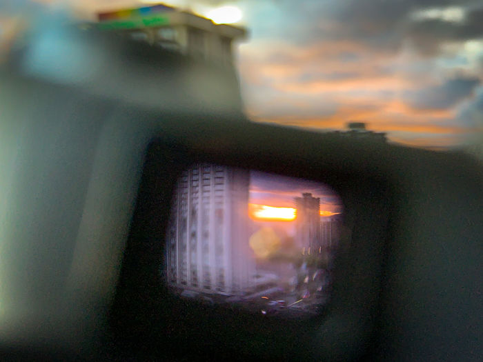 View of car window at sunset