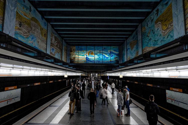 People At Illuminated Subway Station