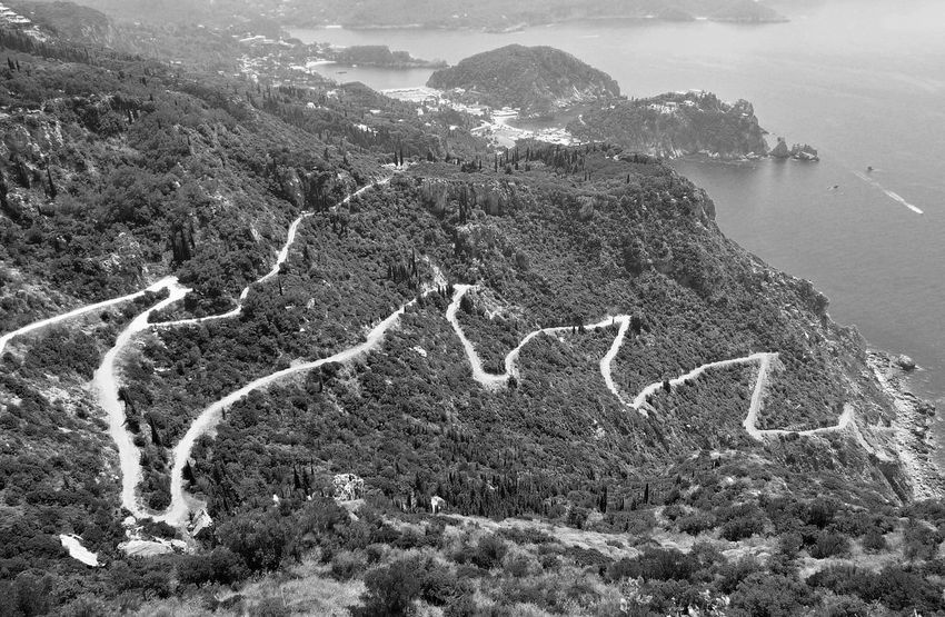 Black & White Road Travel Photography Beauty In Nature Black And White Black And White Photography Day High Angle View Mountain Nature No People Outdoors Road To The Sea Scenics Sky Tranquility Travel Destinations Tree Winding Road The Week On EyeEm Perspectives On Nature