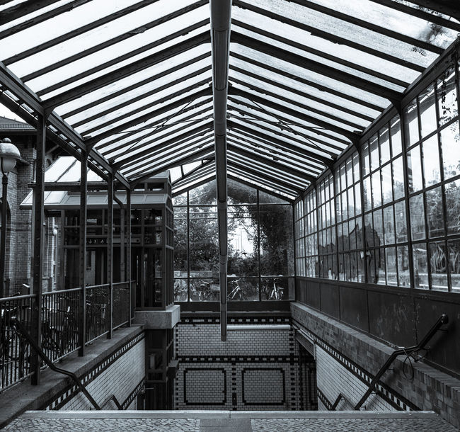 Architecture Built Structure Day Entrance Metal No People Rail Transportation Roof S-bahnhof Stairs Station Transportation Blackandwhite Black And White Black & White Black And White Photography