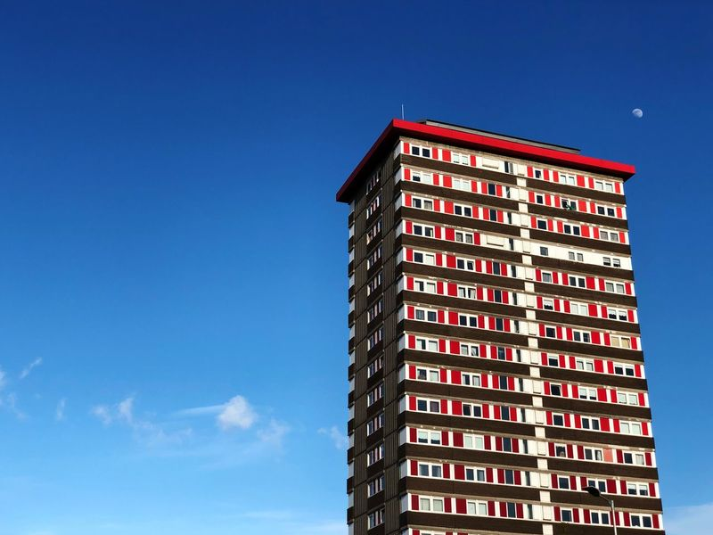Blue Sky Visual Creativity Cityscape Architecture Building Sunlight Copy Space Red Day City Tall - High Outdoors Clear Sky Tower