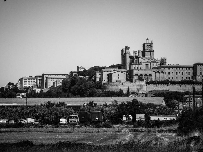 Building Exterior Architecture Built Structure Sky Building Residential District Outdoors No People Nature City Day LanguedocRoussillon Black And White Photography Bnw, Béziers Cathedral Nazaire Fortress Wall Monastery Citywalls South Of France