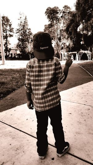 Supreme Team baby. Oakland, Ca. Bllack And White Photography Black & White Supreme Full Length Headwear Males  Girls Shadow Tree Playground Children