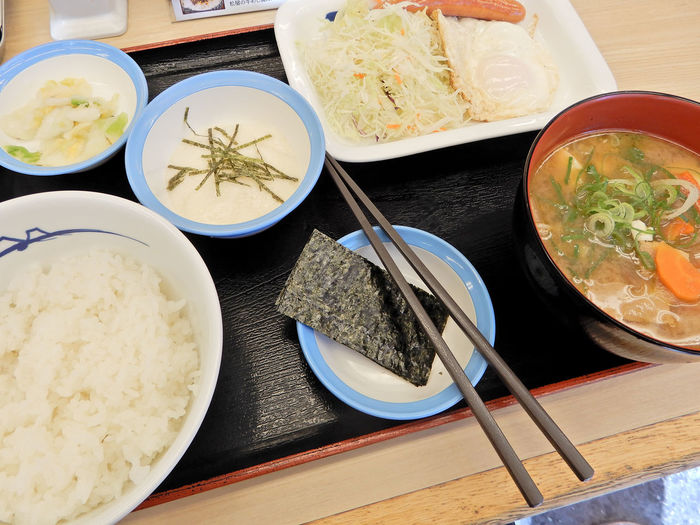 Breakfast Food And Drink Japan Japanese Food Japanese Culture Meal Seaweed Bowl Chopsticks Close-up Day Delicious Eat Food Food And Drink Freshness Healthy Eating Indoors  Laver Mealtime Miso Soup No People Plate Ready-to-eat Restaurant Rice Set Meal Table Taste Good Tasty Tonjiru Tororo