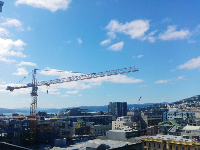 Sunny Day Wellington City New Zealand Building Exterior City Built Structure Architecture Crane - Construction Machinery Development Sky Construction Site Crane Cityscape Construction Industry Construction Tall - High Urban Skyline Cloud - Sky Progress Modern Cloud Growth Day