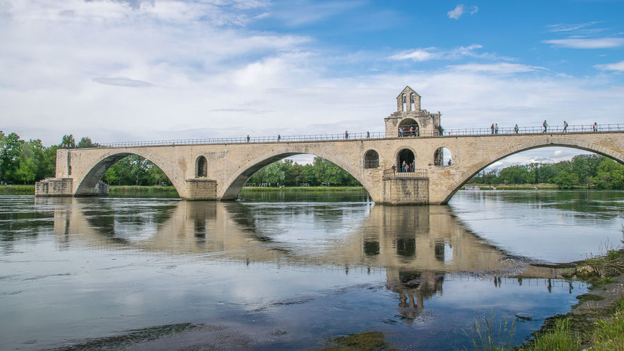 Avignon, City of Pont d´Avignon Architecture Sky Built Structure Cloud - Sky Nature Day Outdoors No People Bridge Water Bridge - Man Made Structure Connection Arch Arch Bridge Reflection River Transportation Waterfront Arched
