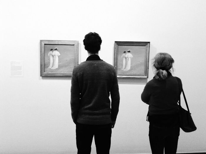 Watching people watching the two ladies Exhibition Bw_collection Blackandwhite EyeEm Best Shots Being A Tourist Eye4photography  Copenhagen People Watching Monochrome Art