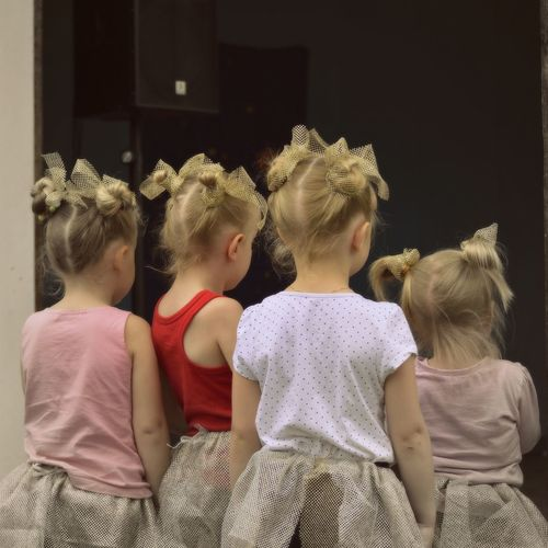 Little ballerinas Ballerina Curiousity Backs Casual Clothing Child Childhood Girls Leisure Activity Lifestyles Togetherness