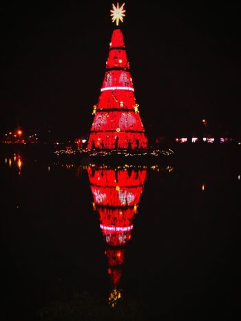 merry christmas... Red Christmas Reflection Night