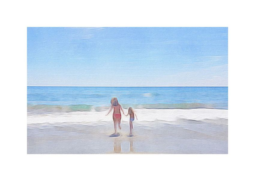Art ArtWork Art, Drawing, Creativity Getting Creative Mother & Daughter Family Love Lovely Beach Blue Ocean Sky Sunny Day At The Beach Sand Waves Water Having Fun People Of The Oceans Hand In Hand Beautiful Nature Horizon Over Water Impressionism The Essence Of Summer Let's Go. Together.