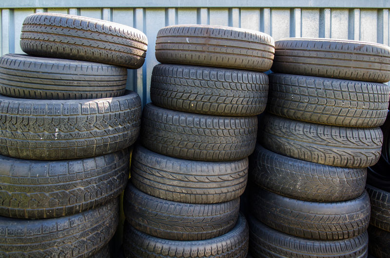 Stack of tires in garage