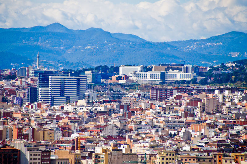 High angle view of townscape against sky, barcelona