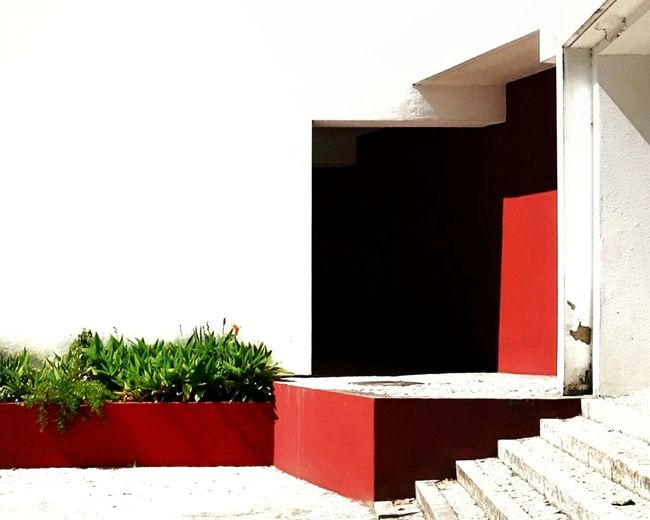 Red built structure
