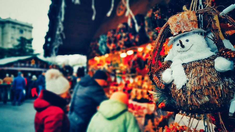 Austria ❤ Vienna Close-up Market Stall Market Christmas Market Outdoors Snowman⛄ Decorations Happiness For Sale Choice Store Retail  Hanging Variation No People Day Macro Photography Focus Object EyeEmNewHere Live For The Story Out Of The Box