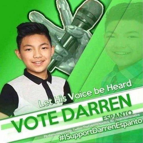 To vote for DARREN: Text VOICE DARREN send to 2331 for ABS-CBN Mobile, Globe, TM, Sun 231- Smart, TNT TVKSemiFinals