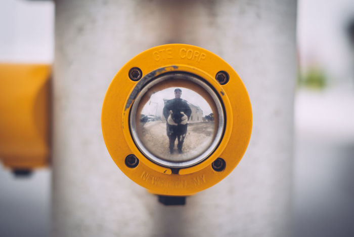 Centered Composition Close-up Convex Mirror Crosswalk Day Intersection Outdoors Reflection Selfie Yellow Paint The Town Yellow