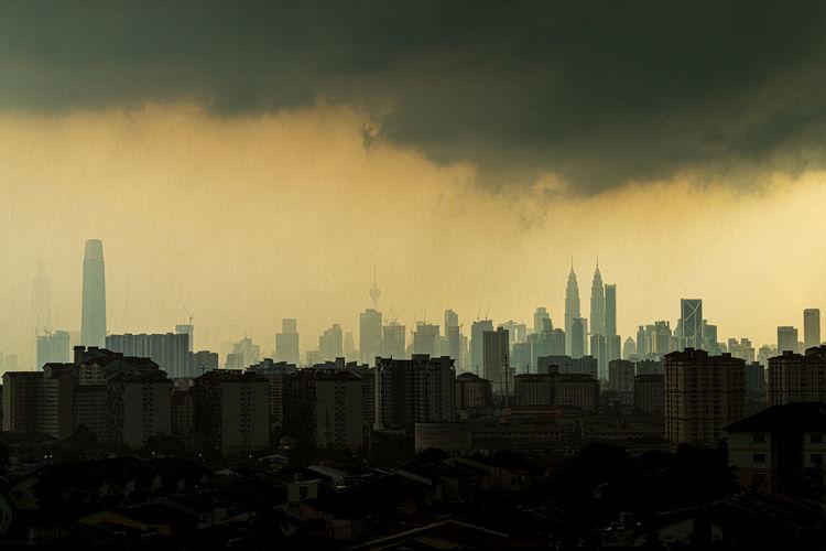 View of rainy day over down town kuala lumpur, malaysia.