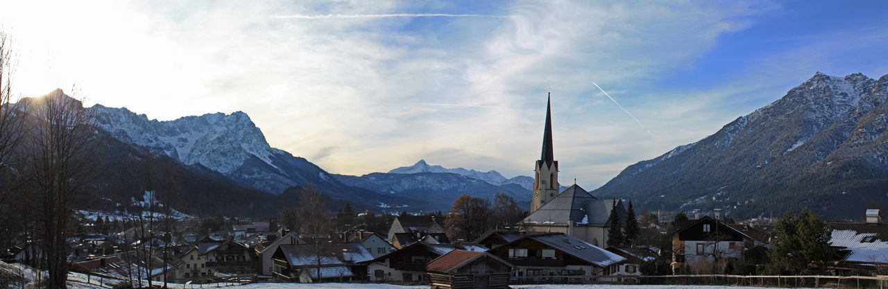 Architecture Austria Bavaria Chruch Cloud - Sky Garmisch Germany House Kirche Kramer Mountain Mountain Peak Nature Outdoors Panoramic Scenics Sky Snowcapped Mountain Tourism Town TOWNSCAPE Winter Zugspitze