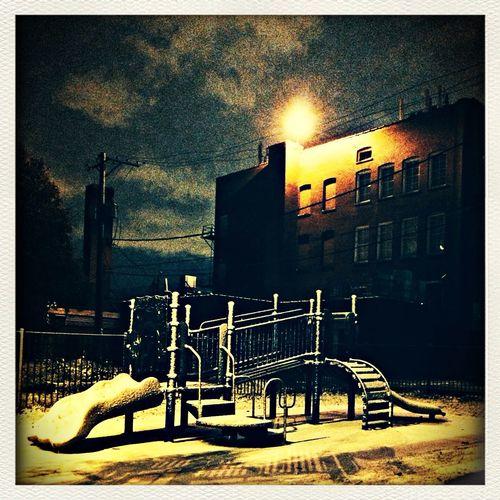 Nightphotography Night Light Playground ❄️1st Snow