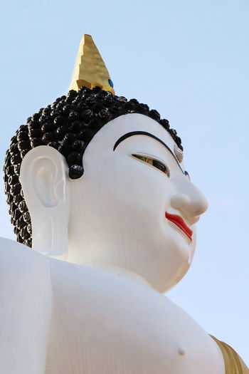 Statue White Buddha Statue Statue White Buddha Architecture Art And Craft Belief Clear Sky Creativity Human Representation Idol Low Angle View Male Likeness No People Place Of Worship Religion Representation Sculpture Sky Spirituality Statue Statue Buddha White Buddha White Color