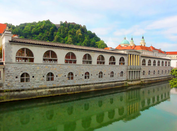 Beautiful bridges and buildings, grocery market in Ljubljana, Slovenia Architecture Building Exterior Built Structure Grocery Market Ljubljana River Sloenia Tourist Attraction  Travel Destinations Water