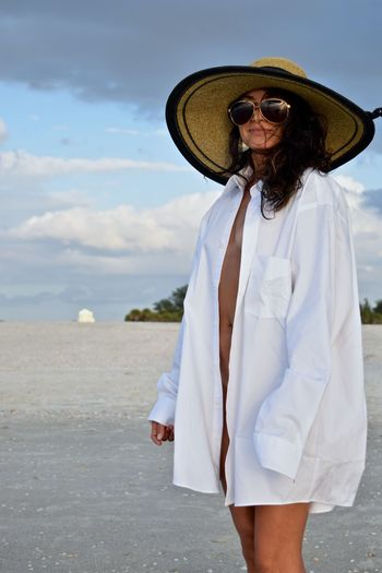 Adult Clothing Cloud - Sky Day Fashion Front View Glasses Hat Land Leisure Activity Lifestyles Nature One Person Outdoors Real People Sky Standing Sun Hat Sunglasses Three Quarter Length Young Adult This Is Natural Beauty International Women's Day 2019 My Best Photo Springtime Decadence