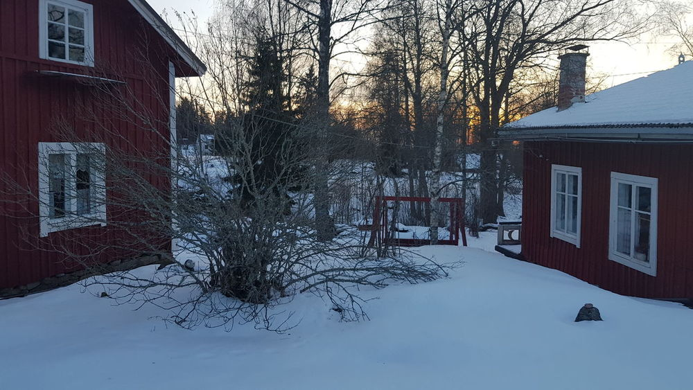 Sunset Dusk Snow Winter Red House Compound